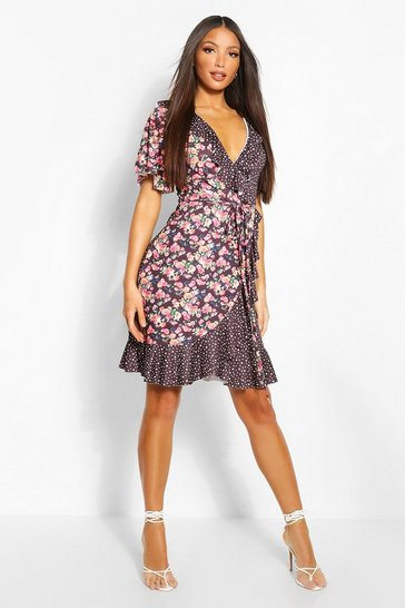 Black Tall Polka Dot & Ditsy Floral Print Tea Dress