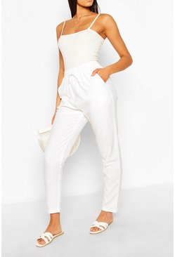 Ivory Tall Straight Leg Linen Trousers