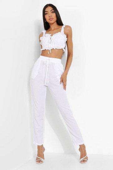 White Tall Straight Leg Linen Trousers