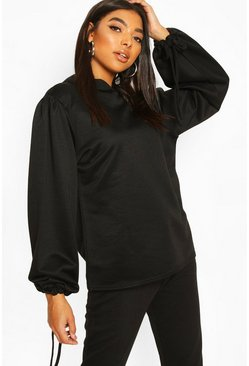 Black Tall Ruched Sleeve Hoody