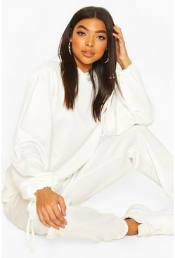 Ivory white Tall Ruched Sleeve Hoody