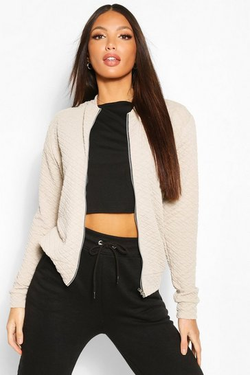Stone Tall Quilted Jersey Bomber Jacket