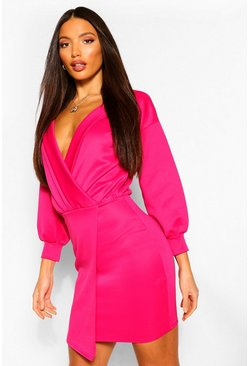 Hot pink pink Tall Puff Sleeve Blazer Dress