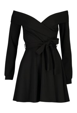 Black Tall Off The Shoulder Belted Skater Dress