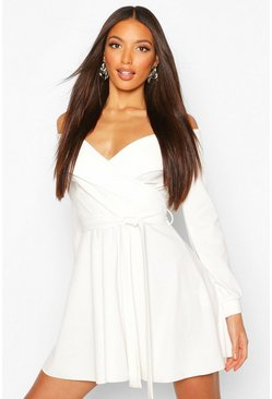 Ivory white Tall Off The Shoulder Belted Skater Dress