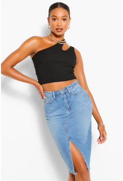 Mid blue blue Tall Split Front Denim Midi Skirt