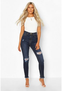 Indigo blue Tall Denim Ripped Frayed Hem Skinny Jean