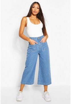 Light blue blue Tall Denim Front Pocket Culottes