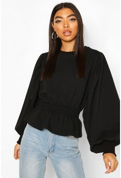 Black Tall Extreme Balloon Sleeve Sweat Top