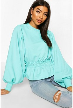 Turquoise blue Tall Extreme Balloon Sleeve Sweat Top