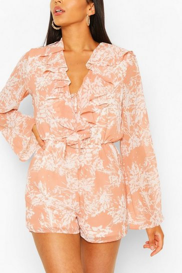 Coral pink Tall Woven Floral Ruffle Front Playsuit