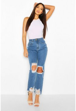 Light blue blue Tall Denim Fray Hem Rip Knee Straight Jeans