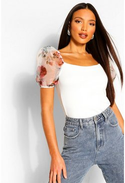 Ivory white Tall Blurred Floral Sleeve Rib Top