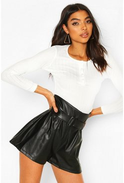 Black Tall PU High Waisted Shorts