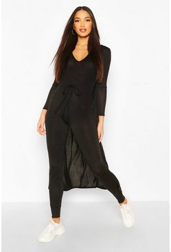 Black Tall 2 Piece Knit Jumpsuit and Cardigan Set