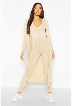 Stone beige Tall 2 Piece Knit Jumpsuit and Cardigan Set