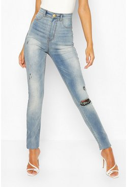 Mid blue Tall Distressed Jeggings