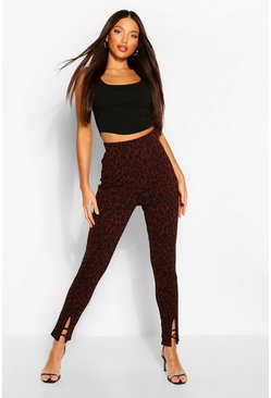 Tall Leopard Print Split Front Trousers