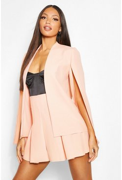 Peach orange Tall Woven Cape Blazer