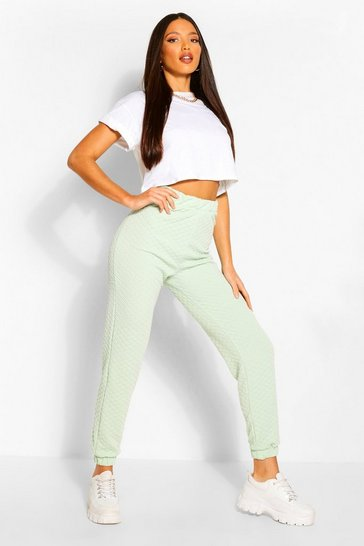 Mint green Green Tall Quilted Jersey Joggers