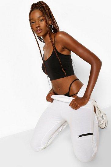 White Tall Zip Pocket Joggers