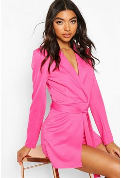 Hot pink pink Tall Belted Blazer Playsuit