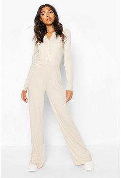 Champagne beige Tall High Shine Rib Popper Wide Leg Jumpsuit