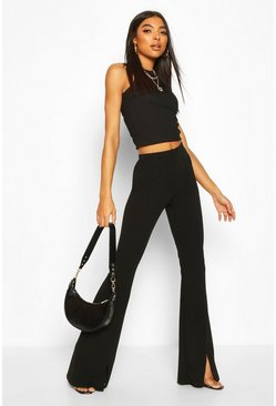 Black Tall Split Front Tailored Flares