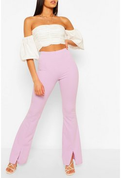 Lilac Tall Split Front Tailored Flares