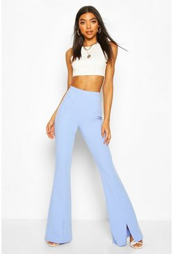 Powder blue blue Tall Split Front Tailored Flares
