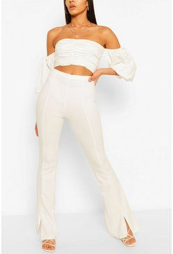 White Tall Split Front Tailored Flares