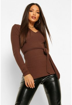 Chocolate brown Tall Belted Side Split Rib Top