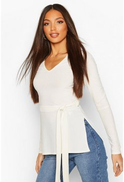 Ecru Tall Belted Side Split Rib Top