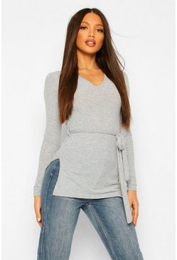 Grey Tall Belted Side Split Rib Top