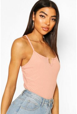 Apricot nude Tall Notch Neck Strappy Rib Bodysuit
