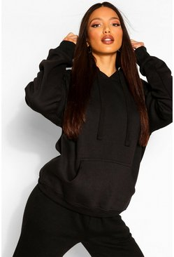 Black Tall Solid Oversized Hoody