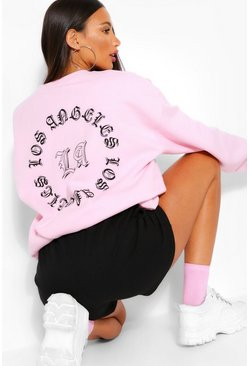 "Pink rosa Tall - ""Los Angeles"" Sweatshirt med slogan"
