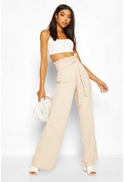 Stone beige Tall Paperbag Waist Wide Leg Trousers
