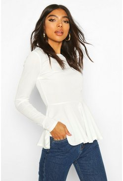 Ivory Tall Rib Peplum Top