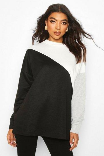 Black Tall Colour Block Sweatshirt