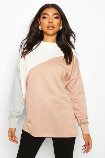 Stone beige Beige Tall Colour Block Sweatshirt