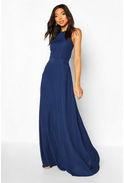Navy Tall High Neck Open Back Maxi Dress