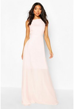 Soft pink pink Tall High Neck Open Back Maxi Dress