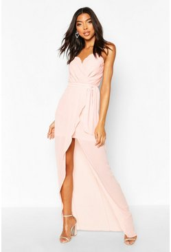 Nude Tall Bandeau Tie Waist Split Front Midi Dress