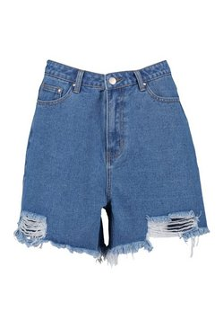 Washed blue Tall Distressed Hem Mom Shorts