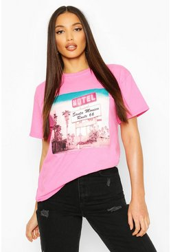 Roze pink Lange T-shirt met Retro Graphic