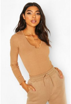 Toffee beige Tall Notch Neck Rib Bodysuit