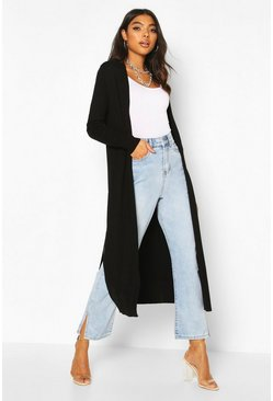 Black Tall Fine Knit Maxi Cardigan