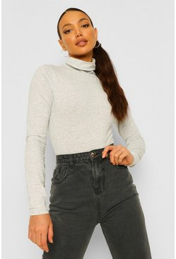 Grey Tall Roll Neck Bodysuit
