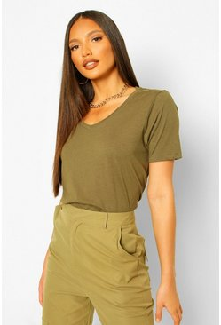 Khaki Tall V-Neck Cotton T-Shirt